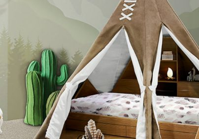 kids bedroom SALONE DEL MOBILE 2017: EXPLORE THE CHILDWOOD KINGDOM WITH CIRCU teepee room ambience circu magical furniture 01 1 404x282