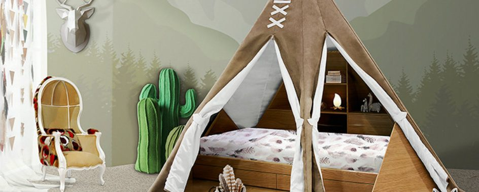 kids bedroom SALONE DEL MOBILE 2017: EXPLORE THE CHILDWOOD KINGDOM WITH CIRCU teepee room ambience circu magical furniture 01 1 944x380